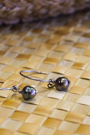 """Boucle d'oreille """"Créole"""" 2 perles de Tahiti"""