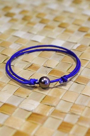 Bracelet Vahine Corde Mauve Perle Tahiti