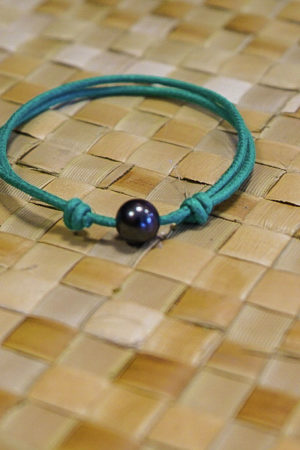 Bracelet Vahine Corde Verte Perle Tahiti