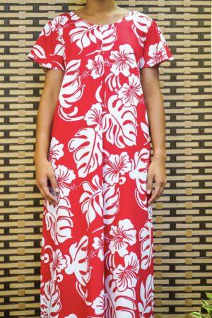 Long robe Rouge fleur blanche Vahine de Tahiti