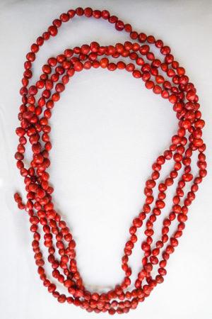 Long collier Graines rouges