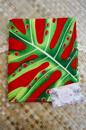 2 Taies rectangle rouge et vert Tahiti