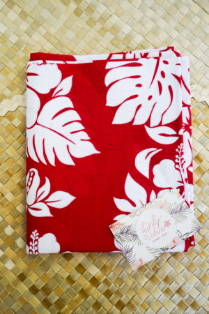 2 Taies oreillers rectangle rouge et blanc Tahiti