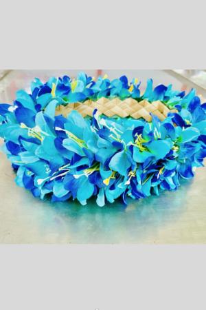 Couronne de Fleurs en tissus bleus