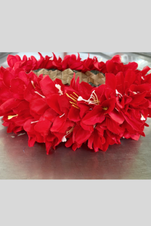 Couronne de Fleurs en tissus rouge