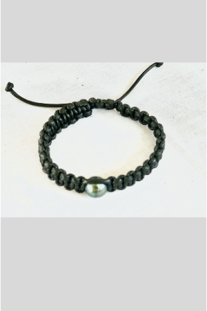 Bracelet Vahine macramé noir perle de Tahiti