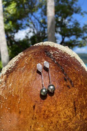 Boucle d'oreille Vahine Black Pearl Tahiti