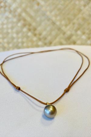 Collier marron une perle de Tahiti